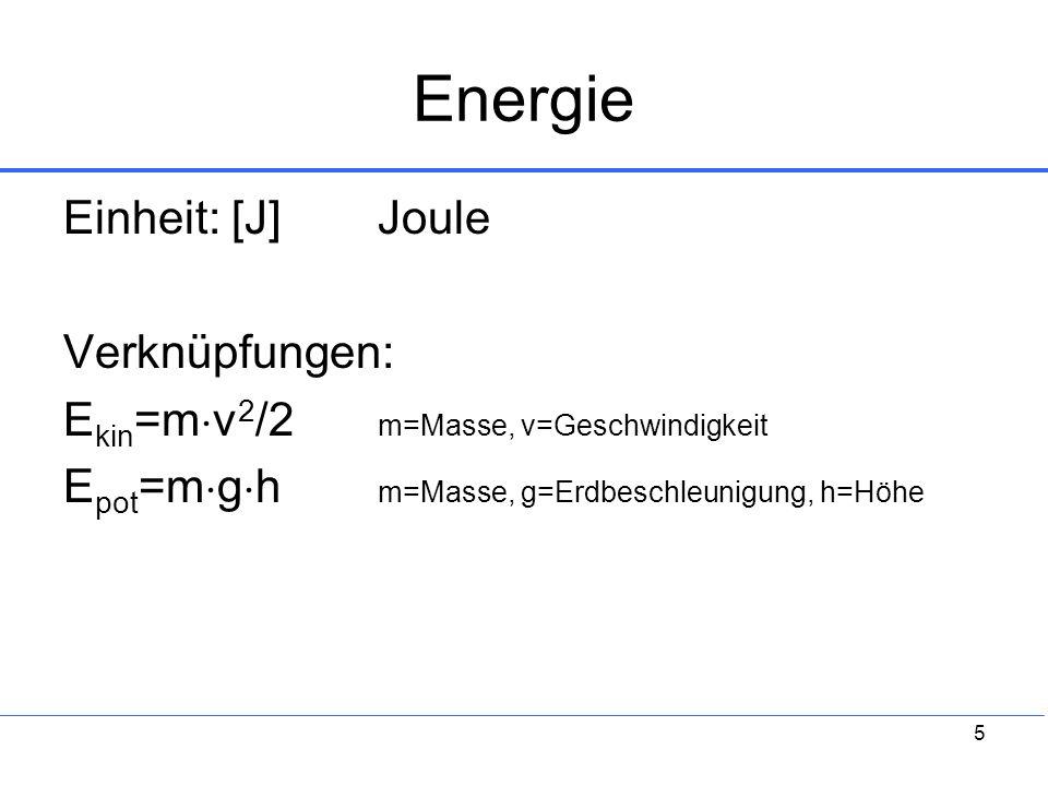 Energie Einheit: [J] Joule Verknüpfungen: